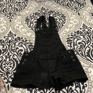 Black short overalls. Size 0